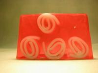 růže s mimózou červená s bílými vruty-blok mýdla 1,5kg ke krájení