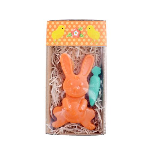 Velikonoční mýdlo  - zajíček oranžový a zelený květ   ± 50 g