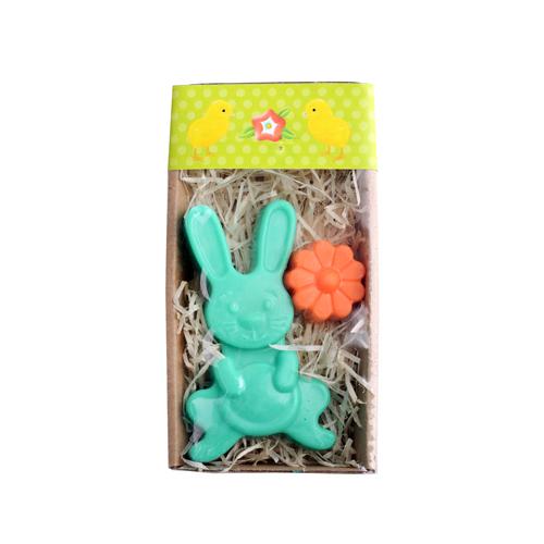 Velikonoční mýdlo - zajíček zelený a žlutý květ 50 g