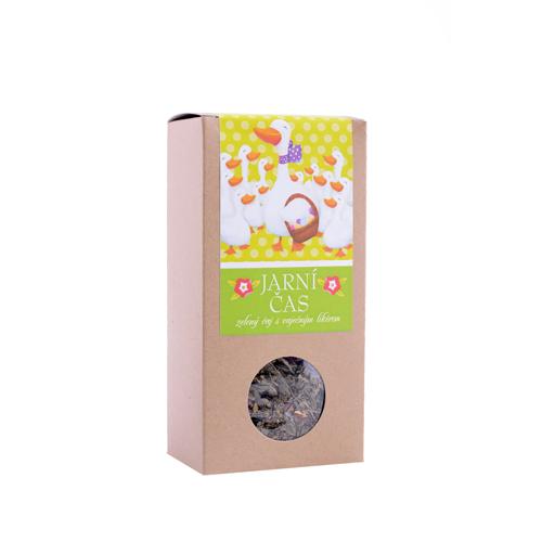 Jarní čas , zelený čaj aroma 70g Velikonoce -krabička