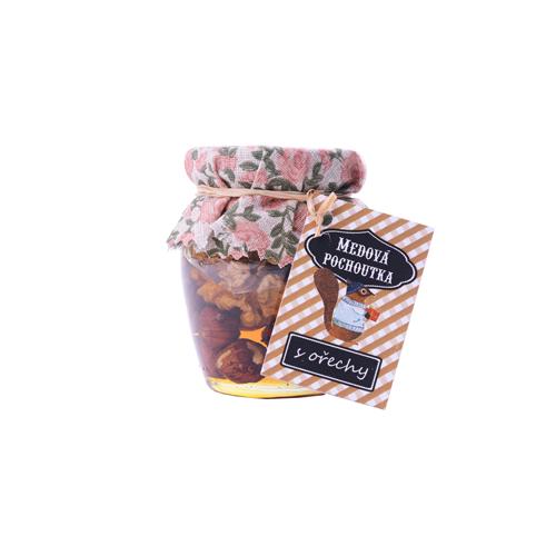 Medová pochoutka 145 ml / s ořechy - lískové ořechy, vlašské ořechy, kešu