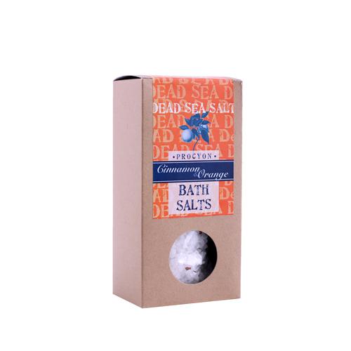 Sůl mrtvé moře 200g krabička s okénkem skořice a pomeranč