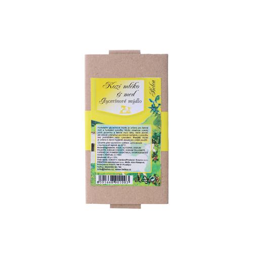 Glycerínové mýdlo s kozím mlékem a medem-90 g v papírové krabičce